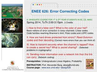 ENEE 626: Error Correcting Codes
