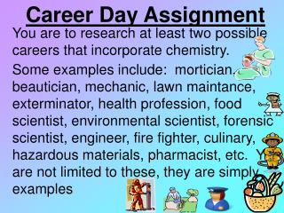 You are to research at least two possible careers that incorporate chemistry.   .