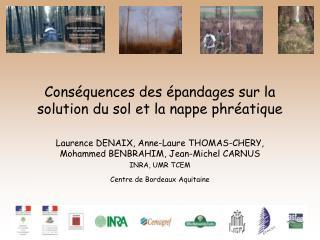 Conséquences des épandages sur la solution du sol et la nappe phréatique
