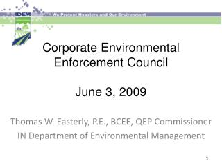 Corporate Environmental  Enforcement Council June 3, 2009