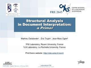 Structural Analysis  in Document Interpretation: a Primer