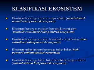 KLASIFIKASI EKOSISTEM
