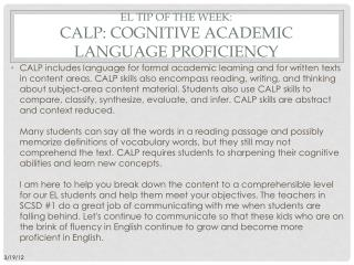 EL Tip of the week:  CALP: Cognitive academic language proficiency