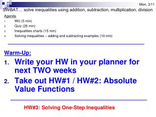 Agenda WU (5 min) Quiz (20 min) Inequalities charts (15 min)