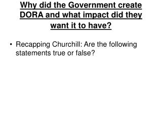 Why did the Government create DORA and what impact did they want it to have?