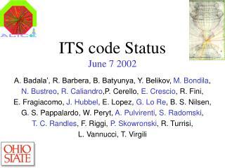 ITS code Status June 7 2002