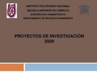 PROYECTOS DE INVESTIGACIÓN  2009