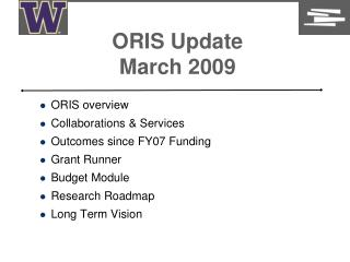 ORIS Update March 2009