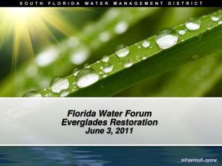Florida Water Forum Everglades Restoration June 3, 2011