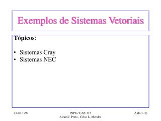Exemplos de Sistemas Vetoriais
