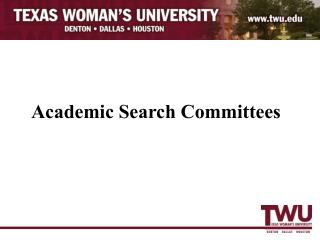 Academic Search Committees