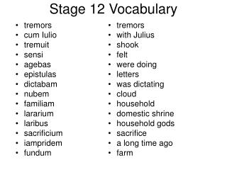 Stage 12 Vocabulary
