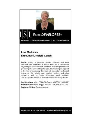 Lisa Markwick Executive Lifestyle Coach