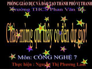 PHÒNG GIÁO DỤC VÀ ĐÀO TẠO THÀNH PHỐ VỊ THANH