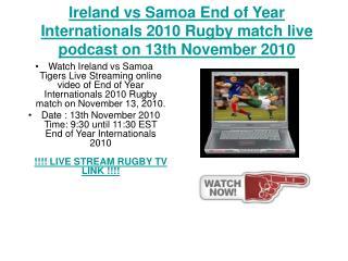 Ireland vs Samoa End of Year Internationals 2010 Rugby match