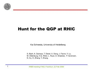 Hunt for the QGP at RHIC