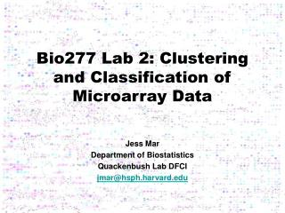 Bio277 Lab 2: Clustering and Classification of Microarray Data