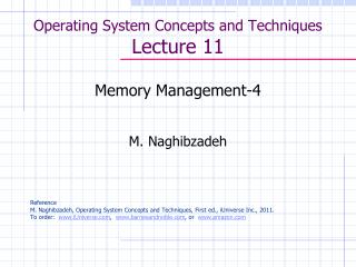 Operating System Concepts and Techniques  Lecture 11
