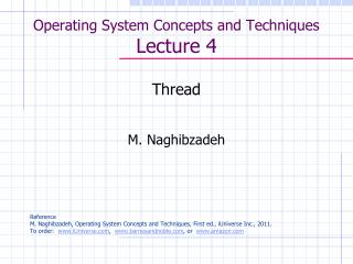 Operating System Concepts and Techniques  Lecture 4