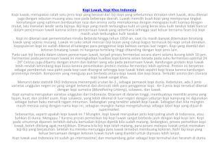 Kopi  Luwak , Kopi  Khas  Indonesia