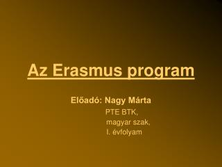 Az Erasmus program