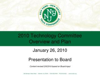 2010 Technology Committee Overview and Plan