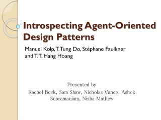 Introspecting Agent-Oriented Design Patterns