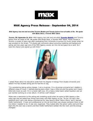 MAX Agency Press Release - September 04, 2014