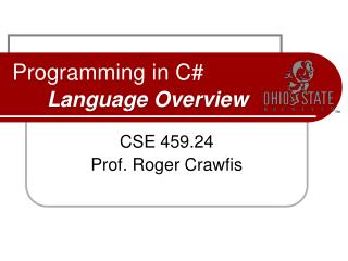 Programming in C  Language Overview