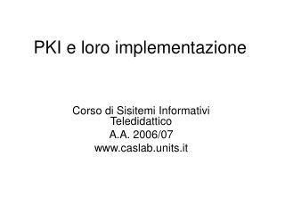 PKI e loro implementazione