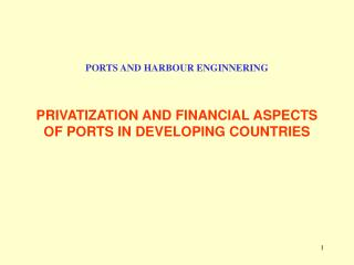 PORTS AND HARBOUR ENGINNERING