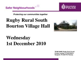 Rugby Rural South Bourton Village Hall Wednesday  1st December 2010