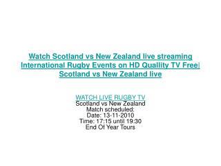 Watch Scotland vs New Zealand live streaming International R
