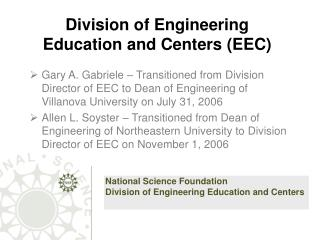 Division of Engineering Education and Centers (EEC)
