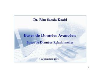 Bases de Données Avancées: Bases de Données Relationnelles