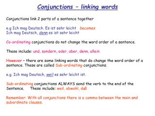 Conjunctions – linking words