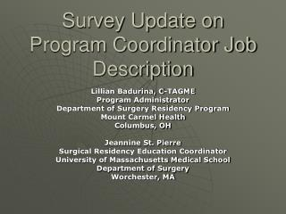 Survey Update on Program Coordinator Job Description