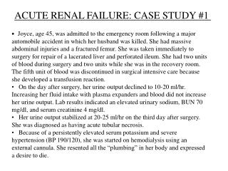 ACUTE RENAL FAILURE: CASE STUDY 1