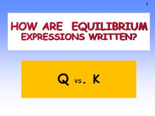 HOW ARE  EQUILIBRIUM EXPRESSIONS WRITTEN?