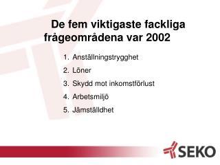 De fem viktigaste fackliga frågeområdena var 2002