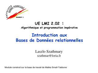UE LMI 2.02  :  Algorithmique et programmation impérative Introduction aux