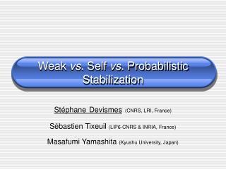 Weak  vs.  Self  vs.  Probabilistic Stabilization
