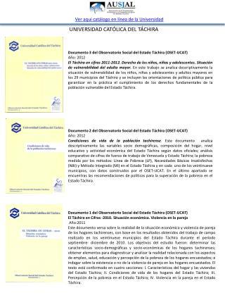 Documento 1 del Observatorio Social del Estado Táchira (OSET-UCAT)