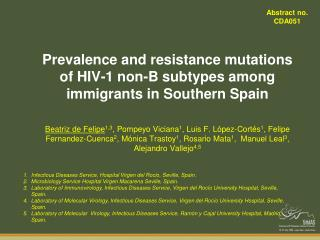 Prevalence and resistance mutations of HIV-1 non-B subtypes among immigrants in Southern Spain