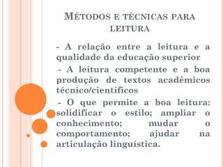 Métodos e técnicas para leitura
