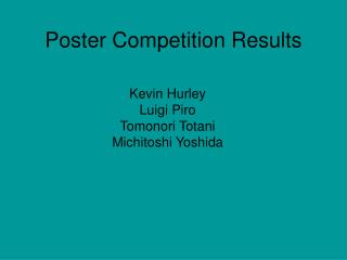 Poster Competition Results