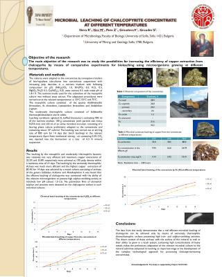 MICROBIAL  LEACHING OF CHALCOPYRITE CONCENTRATE   AT DIFFERENT TEMPERATURES