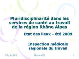 Pluridisciplinarité dans les services de santé au travail de la région Rhône Alpes