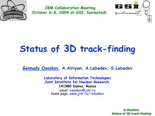 Status of  3D  track-finding