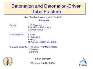 Detonation and Detonation-Driven Tube Fracture
